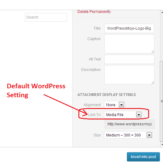 WordPress Image Attachments Default Link Settings