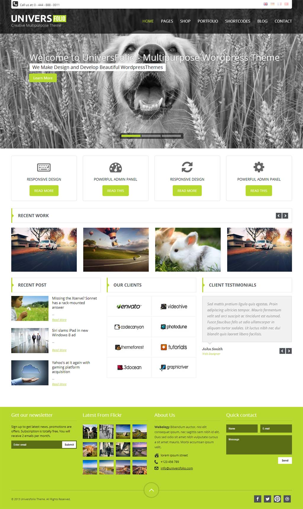 Universfolio Responsive Business Theme