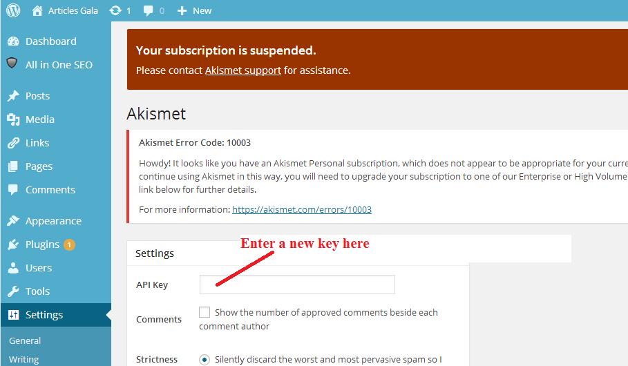 Akismet Error Code 10003 Solution