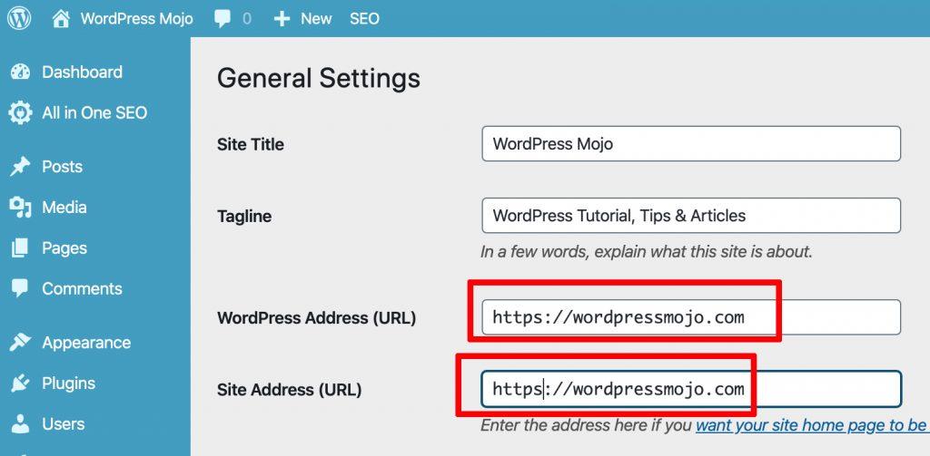 WordPress Settings http:// to https://