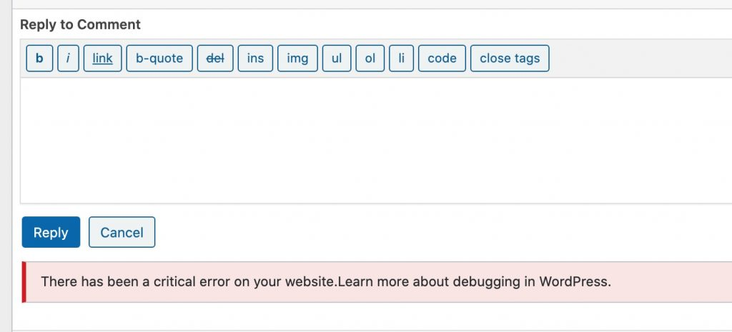 There has been a critical error on your website.Learn more about debugging in WordPress